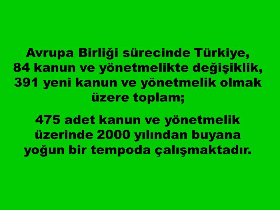 Avrupa Birliği sürecinde Türkiye, 84 kanun ve yönetmelikte değişiklik, 391 yeni kanun ve yönetmelik olmak üzere toplam; 475 adet kanun ve yönetmelik üzerinde 2000 yılından buyana yoğun bir tempoda çalışmaktadır.