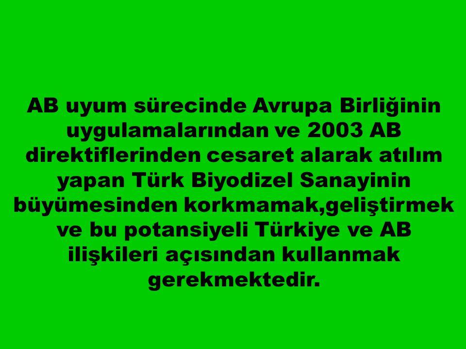 AB uyum sürecinde Avrupa Birliğinin uygulamalarından ve 2003 AB direktiflerinden cesaret alarak atılım yapan Türk Biyodizel Sanayinin büyümesinden korkmamak,geliştirmek ve bu potansiyeli Türkiye ve AB ilişkileri açısından kullanmak gerekmektedir.