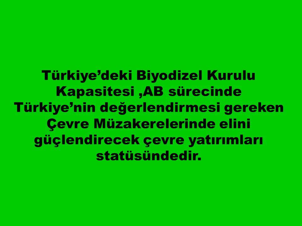 Türkiye'deki Biyodizel Kurulu Kapasitesi,AB sürecinde Türkiye'nin değerlendirmesi gereken Çevre Müzakerelerinde elini güçlendirecek çevre yatırımları statüsündedir.