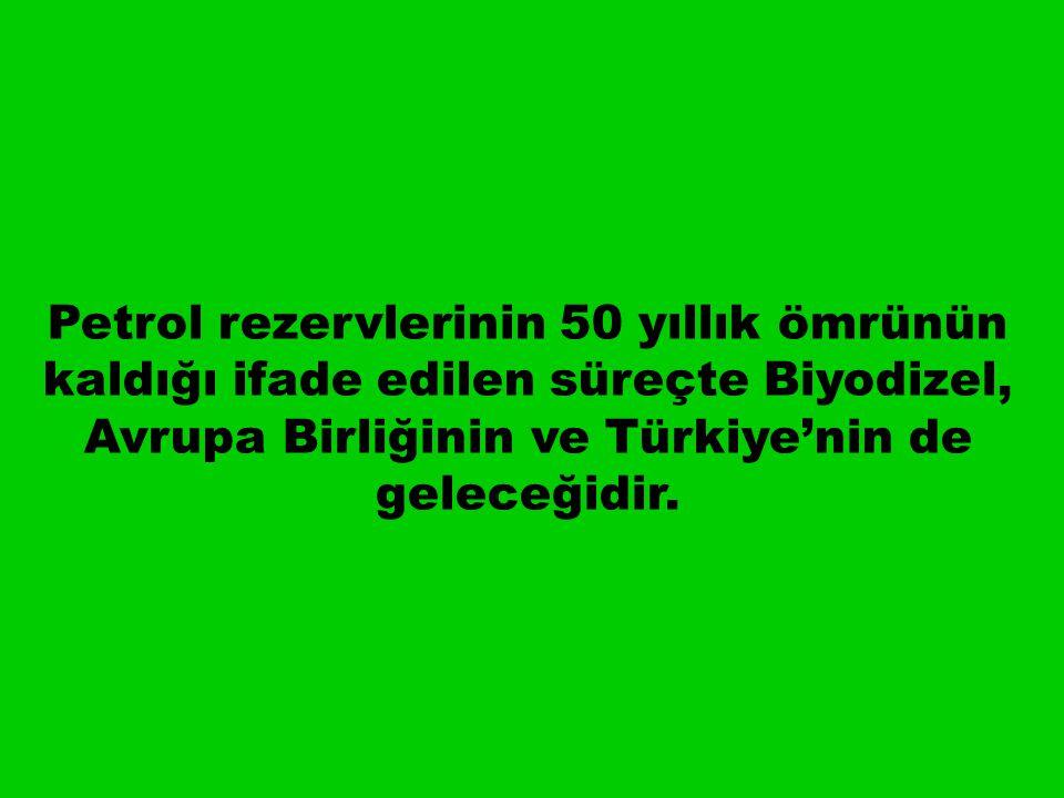 Petrol rezervlerinin 50 yıllık ömrünün kaldığı ifade edilen süreçte Biyodizel, Avrupa Birliğinin ve Türkiye'nin de geleceğidir.