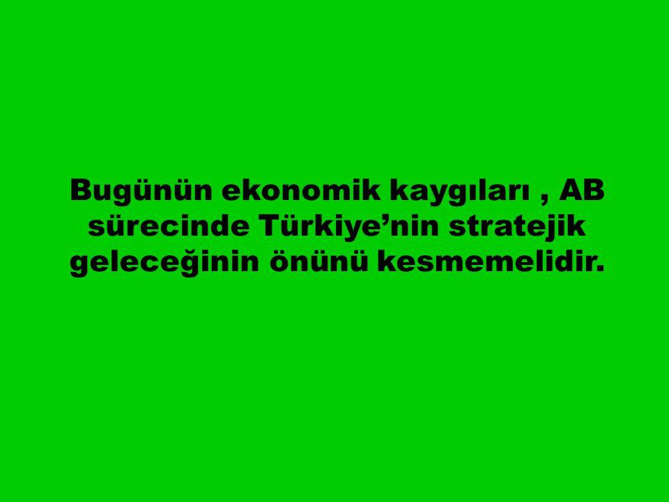Bugünün ekonomik kaygıları, AB sürecinde Türkiye'nin stratejik geleceğinin önünü kesmemelidir.