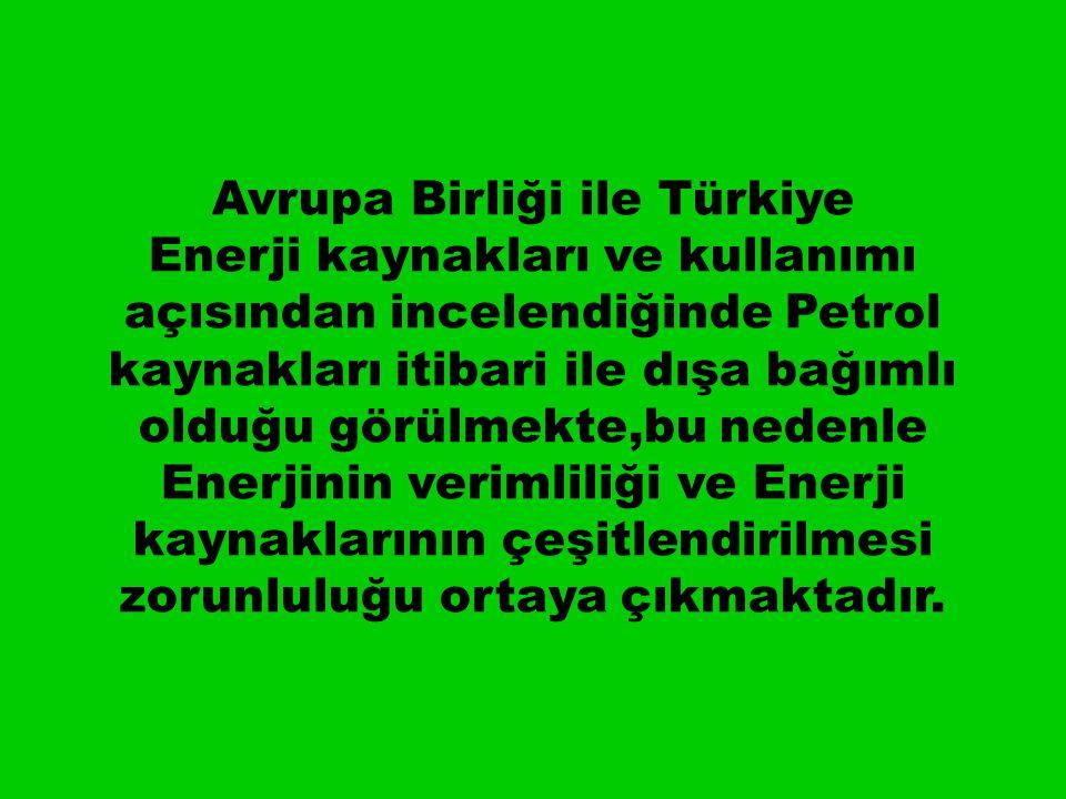 Avrupa Birliği ile Türkiye Enerji kaynakları ve kullanımı açısından incelendiğinde Petrol kaynakları itibari ile dışa bağımlı olduğu görülmekte,bu nedenle Enerjinin verimliliği ve Enerji kaynaklarının çeşitlendirilmesi zorunluluğu ortaya çıkmaktadır.