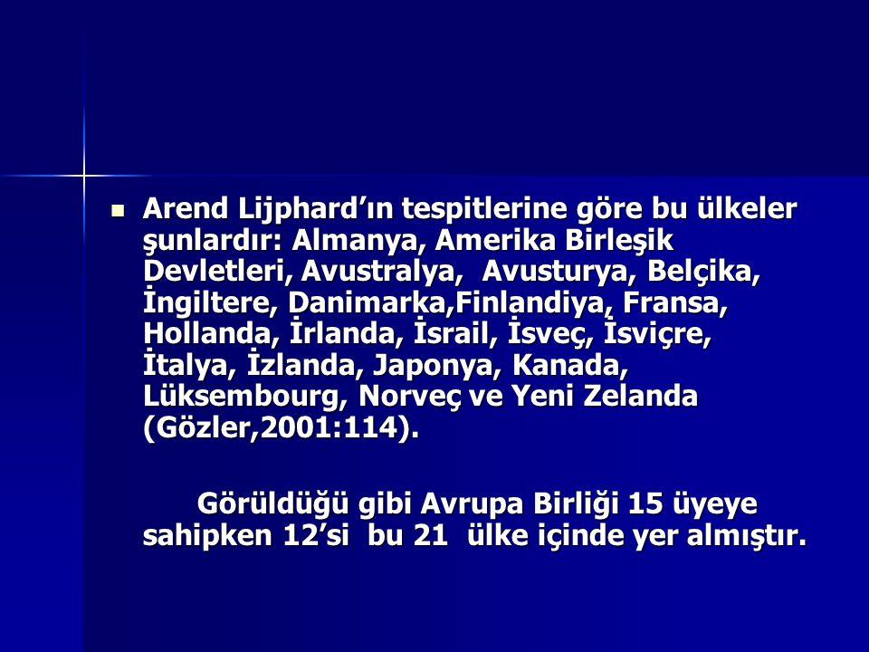 Arend Lijphard'ın tespitlerine göre bu ülkeler şunlardır: Almanya, Amerika Birleşik Devletleri, Avustralya, Avusturya, Belçika, İngiltere, Danimarka,F