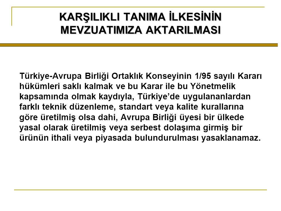 KARŞILIKLI TANIMA İLKESİNİN MEVZUATIMIZA AKTARILMASI Türkiye-Avrupa Birliği Ortaklık Konseyinin 1/95 sayılı Kararı hükümleri saklı kalmak ve bu Karar ile bu Yönetmelik kapsamında olmak kaydıyla, Türkiye'de uygulananlardan farklı teknik düzenleme, standart veya kalite kurallarına göre üretilmiş olsa dahi, Avrupa Birliği üyesi bir ülkede yasal olarak üretilmiş veya serbest dolaşıma girmiş bir ürünün ithali veya piyasada bulundurulması yasaklanamaz.