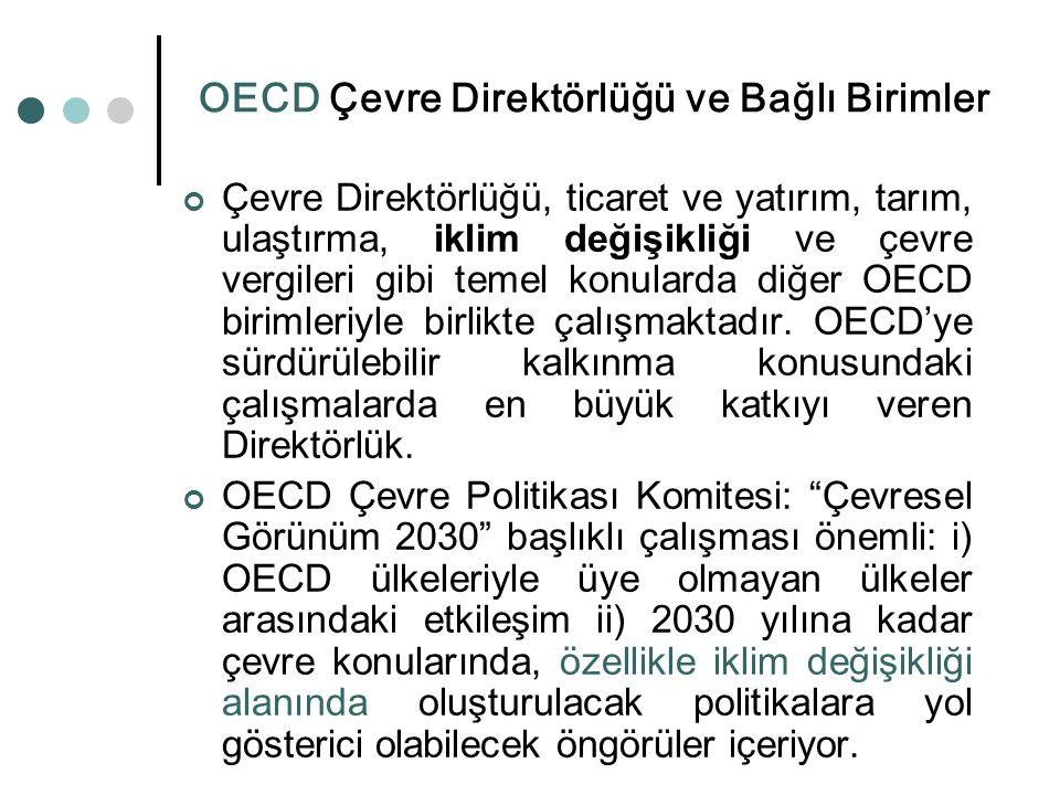 OECD Çevre Direktörlüğü ve Bağlı Birimler Çevre Direktörlüğü, ticaret ve yatırım, tarım, ulaştırma, iklim değişikliği ve çevre vergileri gibi temel ko