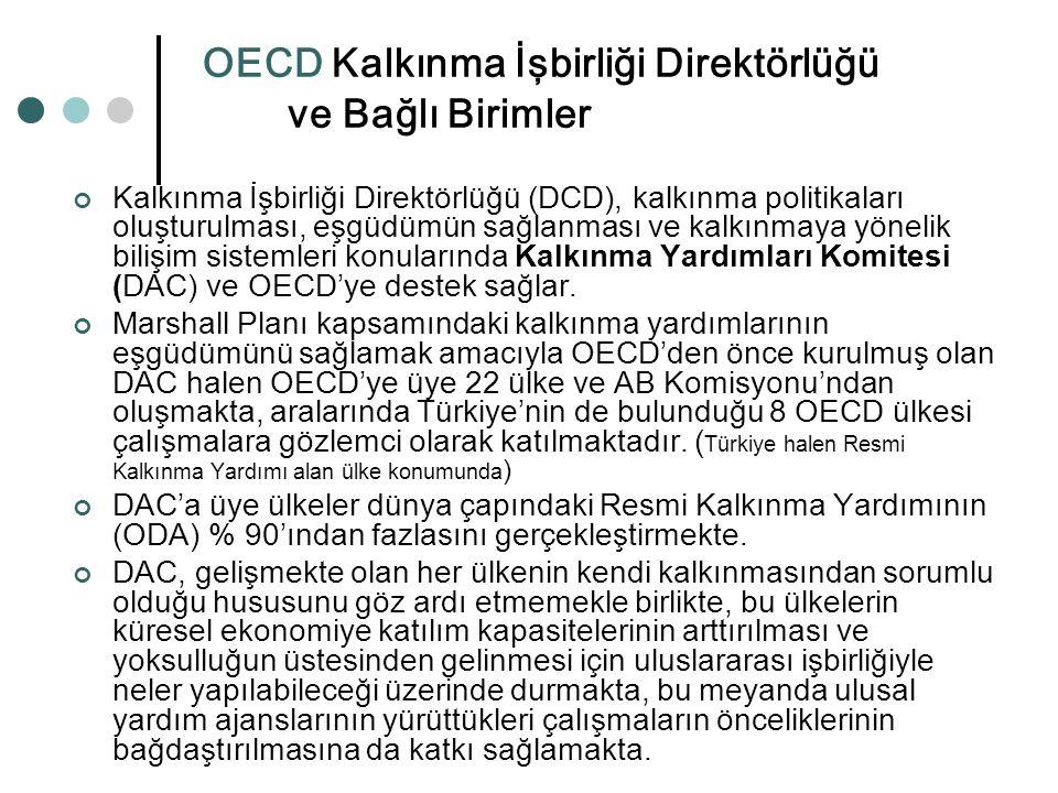 OECD Kalkınma İşbirliği Direktörlüğü ve Bağlı Birimler Kalkınma İşbirliği Direktörlüğü (DCD), kalkınma politikaları oluşturulması, eşgüdümün sağlanmas
