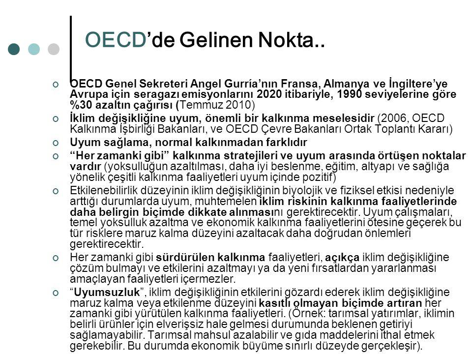 OECD'de Gelinen Nokta.. OECD Genel Sekreteri Angel Gurría'nın Fransa, Almanya ve İngiltere'ye Avrupa için seragazı emisyonlarını 2020 itibariyle, 1990