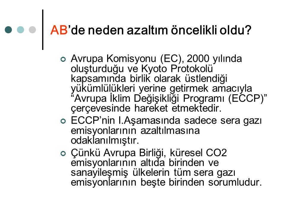 AB'de neden azaltım öncelikli oldu? Avrupa Komisyonu (EC), 2000 yılında oluşturduğu ve Kyoto Protokolü kapsamında birlik olarak üstlendiği yükümlülükl