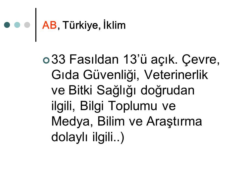 AB, Türkiye, İklim 33 Fasıldan 13'ü açık. Çevre, Gıda Güvenliği, Veterinerlik ve Bitki Sağlığı doğrudan ilgili, Bilgi Toplumu ve Medya, Bilim ve Araşt