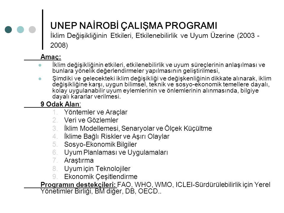 UNEP NAİROBİ ÇALIŞMA PROGRAMI İklim Değişikliğinin Etkileri, Etkilenebilirlik ve Uyum Üzerine (2003 - 2008) Amaç: İklim değişikliğinin etkileri, etkil