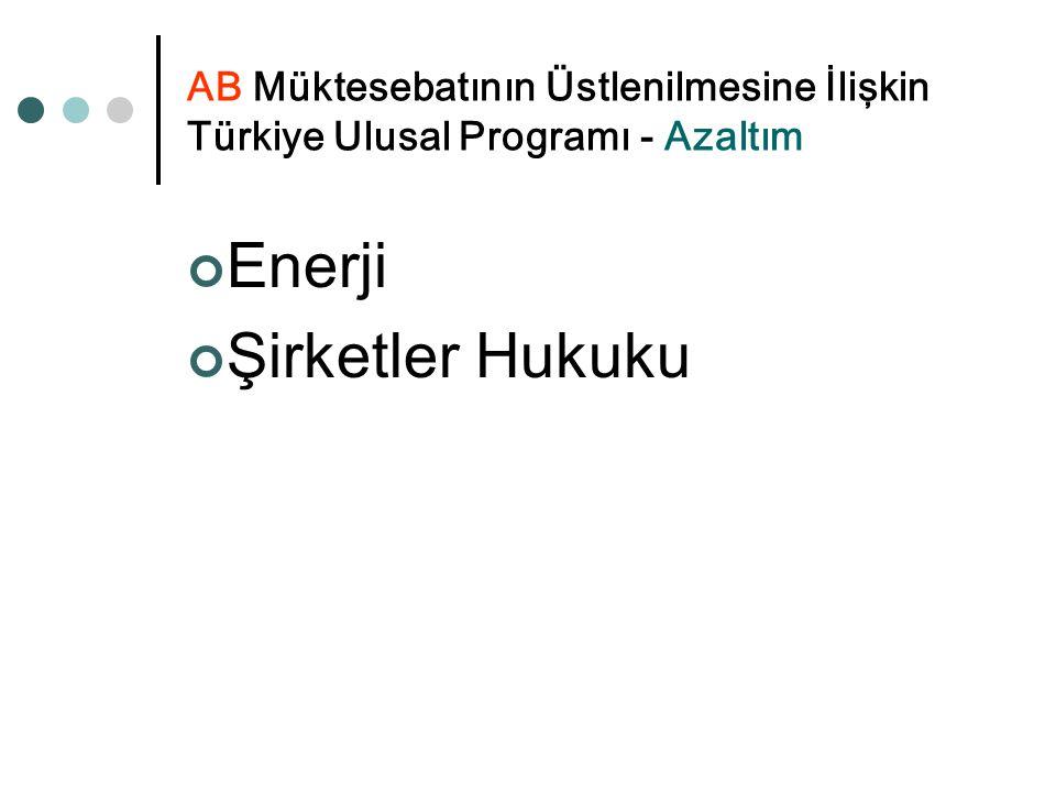 AB Müktesebatının Üstlenilmesine İlişkin Türkiye Ulusal Programı - Azaltım Enerji Şirketler Hukuku