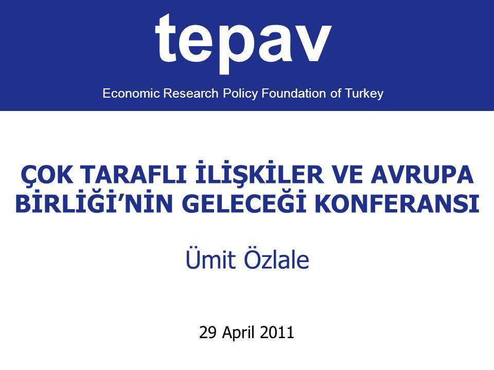 ÇOK TARAFLI İLİŞKİLER VE AVRUPA BİRLİĞİ'NİN GELECEĞİ KONFERANSI Ümit Özlale tepav Economic Research Policy Foundation of Turkey 29 April 2011