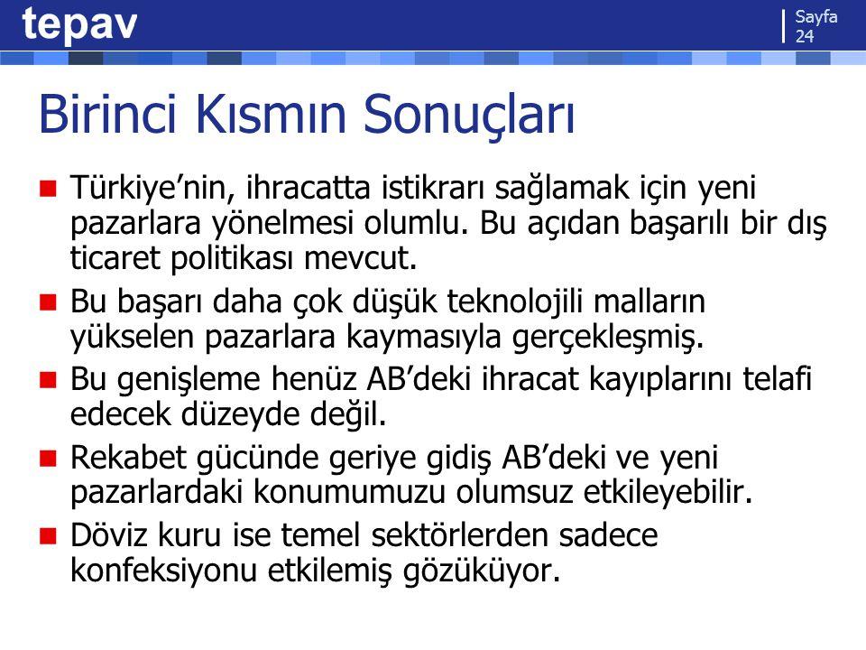 Birinci Kısmın Sonuçları Türkiye'nin, ihracatta istikrarı sağlamak için yeni pazarlara yönelmesi olumlu. Bu açıdan başarılı bir dış ticaret politikası