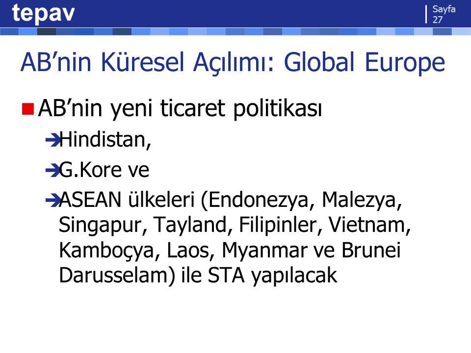 AB'nin Küresel Açılımı: Global Europe AB'nin yeni ticaret politikası  Hindistan,  G.Kore ve  ASEAN ülkeleri (Endonezya, Malezya, Singapur, Tayland, Filipinler, Vietnam, Kamboçya, Laos, Myanmar ve Brunei Darusselam) ile STA yapılacak Sayfa 27