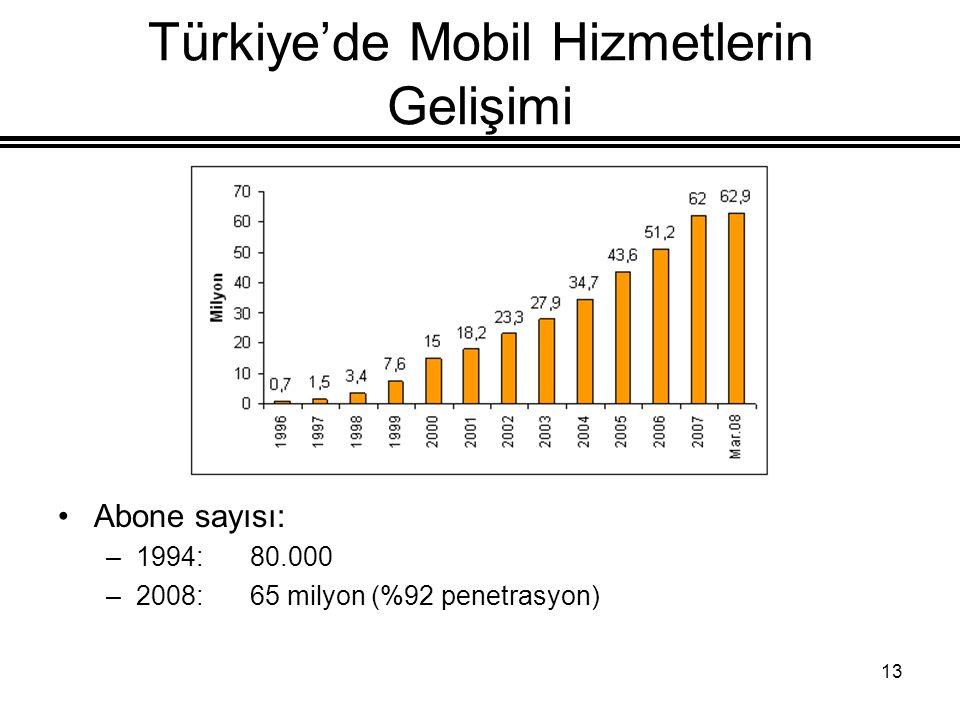 13 Türkiye'de Mobil Hizmetlerin Gelişimi Abone sayısı: –1994:80.000 –2008:65 milyon (%92 penetrasyon)