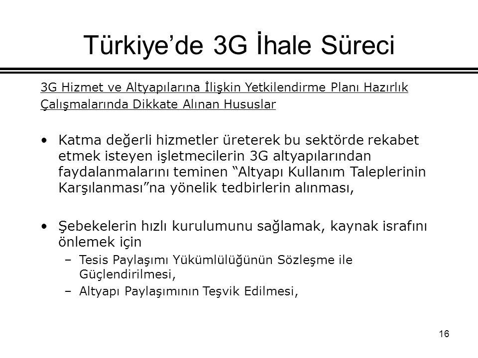 16 Türkiye'de 3G İhale Süreci 3G Hizmet ve Altyapılarına İlişkin Yetkilendirme Planı Hazırlık Çalışmalarında Dikkate Alınan Hususlar Katma değerli hizmetler üreterek bu sektörde rekabet etmek isteyen işletmecilerin 3G altyapılarından faydalanmalarını teminen Altyapı Kullanım Taleplerinin Karşılanması na yönelik tedbirlerin alınması, Şebekelerin hızlı kurulumunu sağlamak, kaynak israfını önlemek için –Tesis Paylaşımı Yükümlülüğünün Sözleşme ile Güçlendirilmesi, –Altyapı Paylaşımının Teşvik Edilmesi,