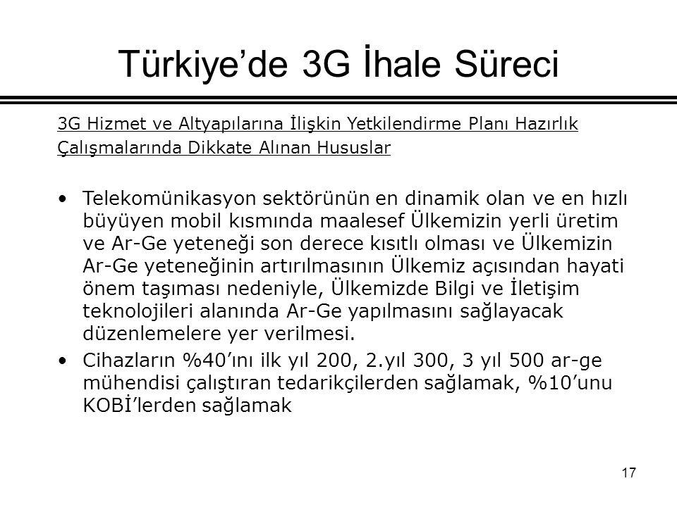 17 Türkiye'de 3G İhale Süreci 3G Hizmet ve Altyapılarına İlişkin Yetkilendirme Planı Hazırlık Çalışmalarında Dikkate Alınan Hususlar Telekomünikasyon sektörünün en dinamik olan ve en hızlı büyüyen mobil kısmında maalesef Ülkemizin yerli üretim ve Ar-Ge yeteneği son derece kısıtlı olması ve Ülkemizin Ar-Ge yeteneğinin artırılmasının Ülkemiz açısından hayati önem taşıması nedeniyle, Ülkemizde Bilgi ve İletişim teknolojileri alanında Ar-Ge yapılmasını sağlayacak düzenlemelere yer verilmesi.