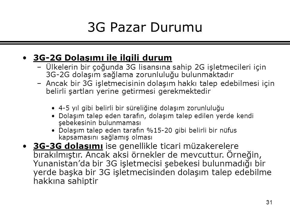 31 3G Pazar Durumu 3G-2G Dolaşımı ile ilgili durum –Ülkelerin bir çoğunda 3G lisansına sahip 2G işletmecileri için 3G-2G dolaşım sağlama zorunluluğu b