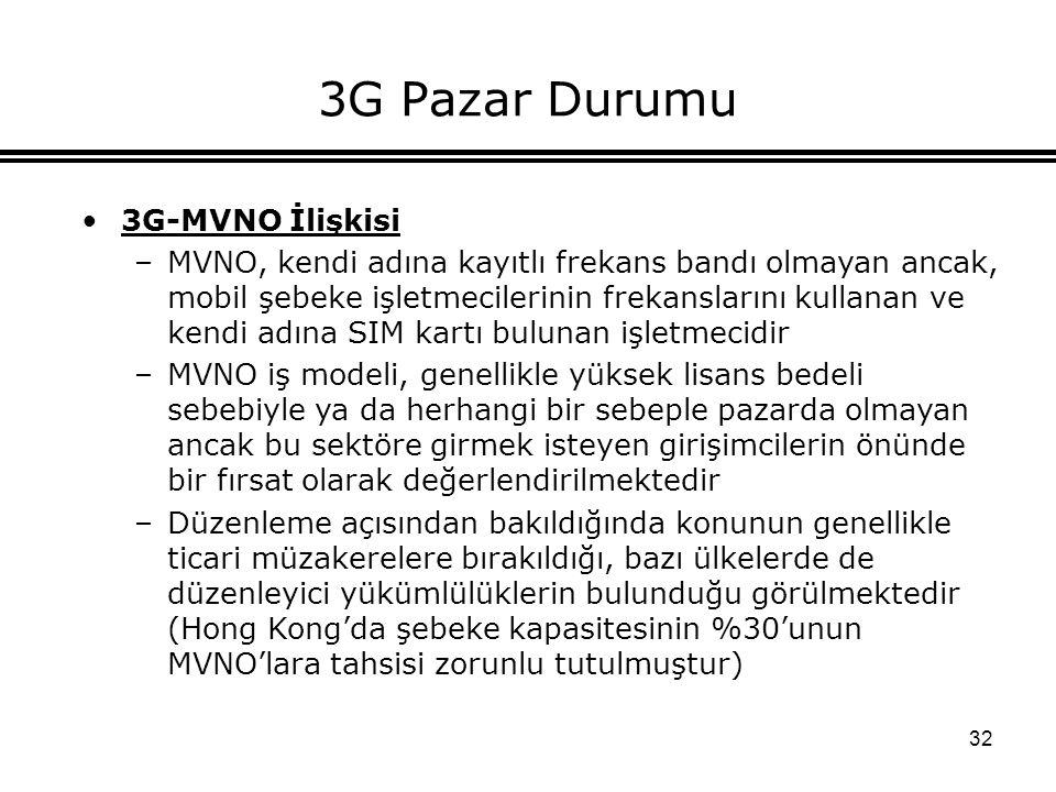 32 3G Pazar Durumu 3G-MVNO İlişkisi –MVNO, kendi adına kayıtlı frekans bandı olmayan ancak, mobil şebeke işletmecilerinin frekanslarını kullanan ve ke
