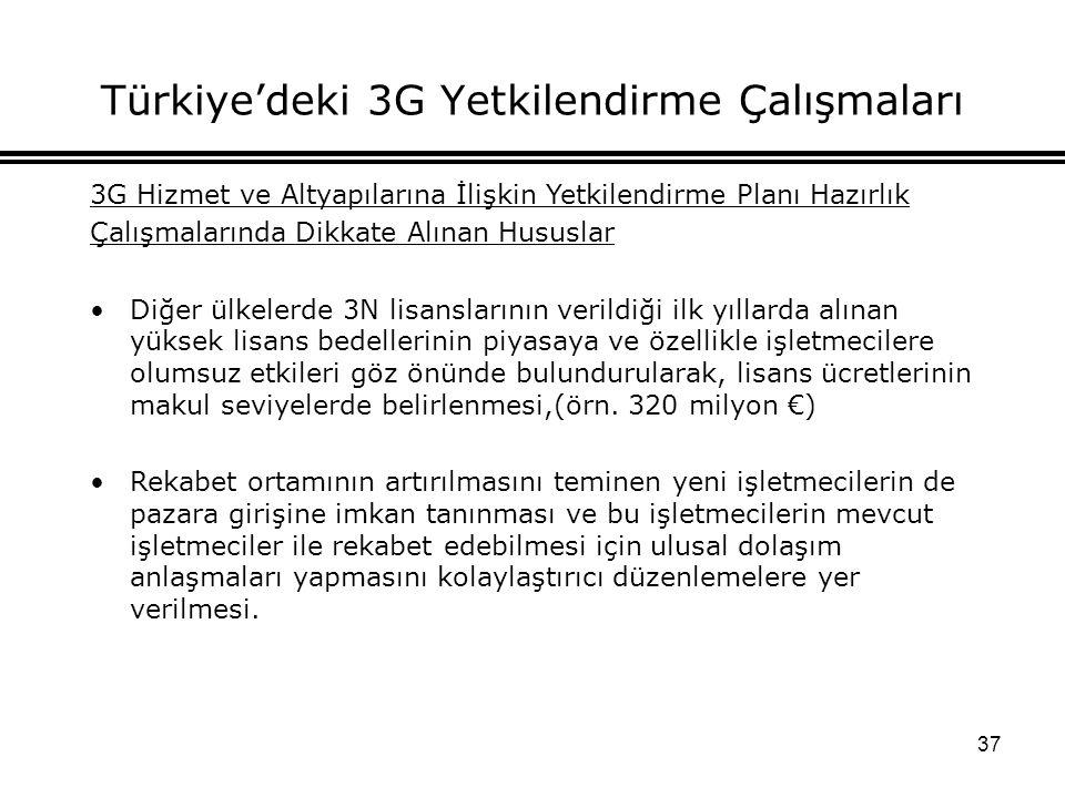 37 Türkiye'deki 3G Yetkilendirme Çalışmaları 3G Hizmet ve Altyapılarına İlişkin Yetkilendirme Planı Hazırlık Çalışmalarında Dikkate Alınan Hususlar Diğer ülkelerde 3N lisanslarının verildiği ilk yıllarda alınan yüksek lisans bedellerinin piyasaya ve özellikle işletmecilere olumsuz etkileri göz önünde bulundurularak, lisans ücretlerinin makul seviyelerde belirlenmesi,(örn.