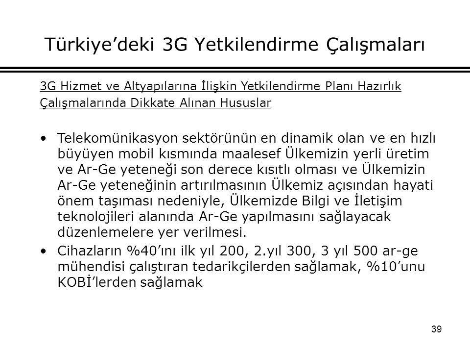 39 Türkiye'deki 3G Yetkilendirme Çalışmaları 3G Hizmet ve Altyapılarına İlişkin Yetkilendirme Planı Hazırlık Çalışmalarında Dikkate Alınan Hususlar Telekomünikasyon sektörünün en dinamik olan ve en hızlı büyüyen mobil kısmında maalesef Ülkemizin yerli üretim ve Ar-Ge yeteneği son derece kısıtlı olması ve Ülkemizin Ar-Ge yeteneğinin artırılmasının Ülkemiz açısından hayati önem taşıması nedeniyle, Ülkemizde Bilgi ve İletişim teknolojileri alanında Ar-Ge yapılmasını sağlayacak düzenlemelere yer verilmesi.