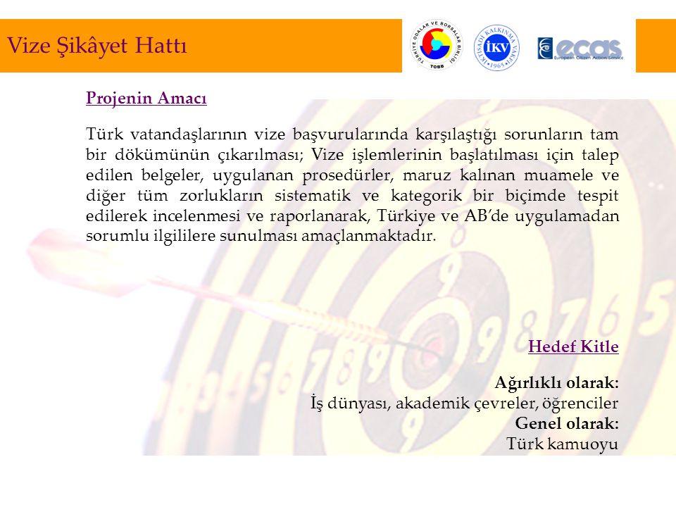 Projenin Amacı Türk vatandaşlarının vize başvurularında karşılaştığı sorunların tam bir dökümünün çıkarılması; Vize işlemlerinin başlatılması için talep edilen belgeler, uygulanan prosedürler, maruz kalınan muamele ve diğer tüm zorlukların sistematik ve kategorik bir biçimde tespit edilerek incelenmesi ve raporlanarak, Türkiye ve AB'de uygulamadan sorumlu ilgililere sunulması amaçlanmaktadır.