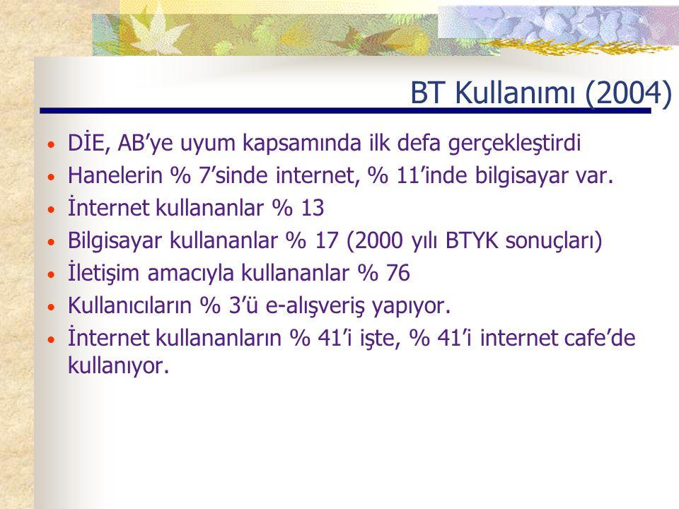 BT Kullanımı (2004) DİE, AB'ye uyum kapsamında ilk defa gerçekleştirdi Hanelerin % 7'sinde internet, % 11'inde bilgisayar var.