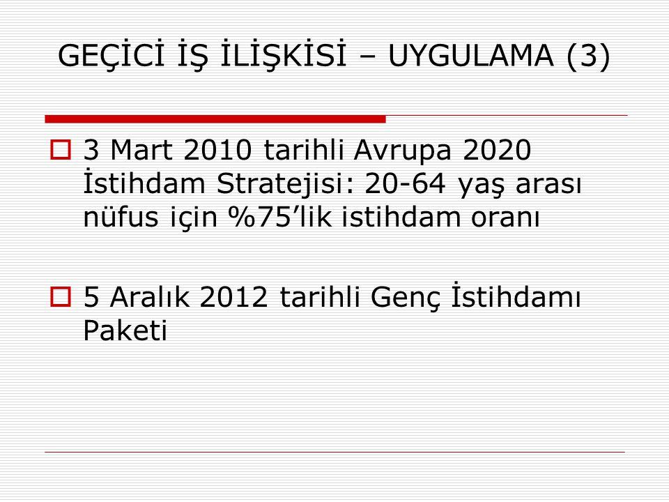 GEÇİCİ İŞ İLİŞKİSİ – UYGULAMA (3)  3 Mart 2010 tarihli Avrupa 2020 İstihdam Stratejisi: 20-64 yaş arası nüfus için %75'lik istihdam oranı  5 Aralık