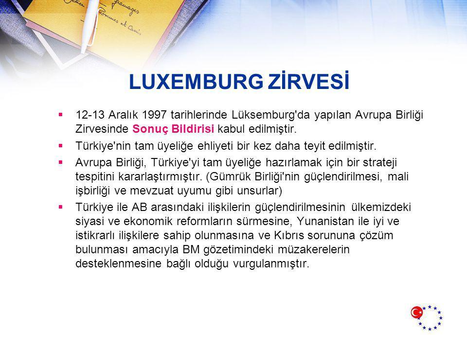LUXEMBURG ZİRVESİ  12-13 Aralık 1997 tarihlerinde Lüksemburg da yapılan Avrupa Birliği Zirvesinde Sonuç Bildirisi kabul edilmiştir.
