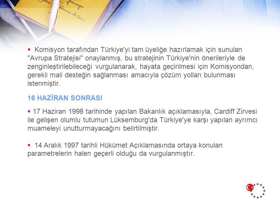  Komisyon tarafından Türkiye yi tam üyeliğe hazırlamak için sunulan Avrupa Stratejisi onaylanmış, bu stratejinin Türkiye nin önerileriyle de zenginleştirilebileceği vurgulanarak, hayata geçirilmesi için Komisyondan, gerekli mali desteğin sağlanması amacıyla çözüm yolları bulunması istenmiştir.