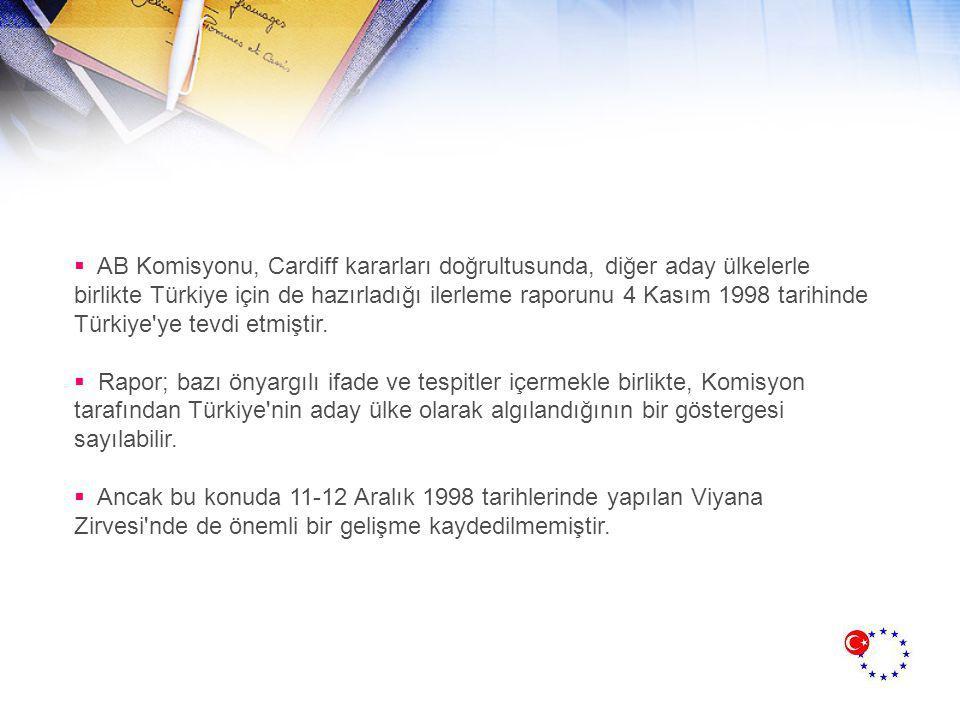  AB Komisyonu, Cardiff kararları doğrultusunda, diğer aday ülkelerle birlikte Türkiye için de hazırladığı ilerleme raporunu 4 Kasım 1998 tarihinde Türkiye ye tevdi etmiştir.
