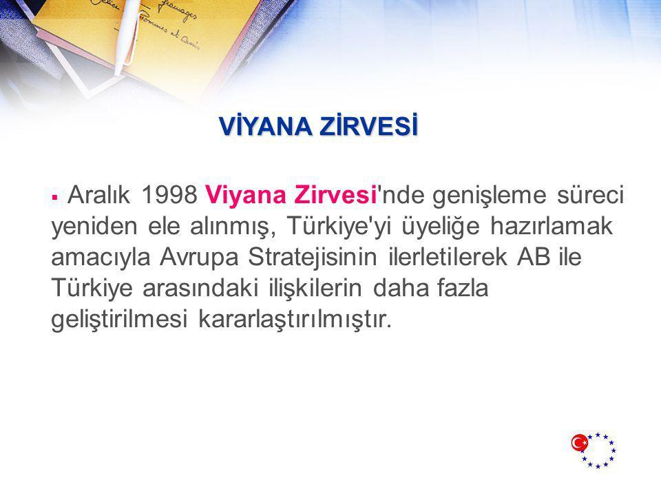VİYANA ZİRVESİ  Aralık 1998 Viyana Zirvesi nde genişleme süreci yeniden ele alınmış, Türkiye yi üyeliğe hazırlamak amacıyla Avrupa Stratejisinin ilerletilerek AB ile Türkiye arasındaki ilişkilerin daha fazla geliştirilmesi kararlaştırılmıştır.
