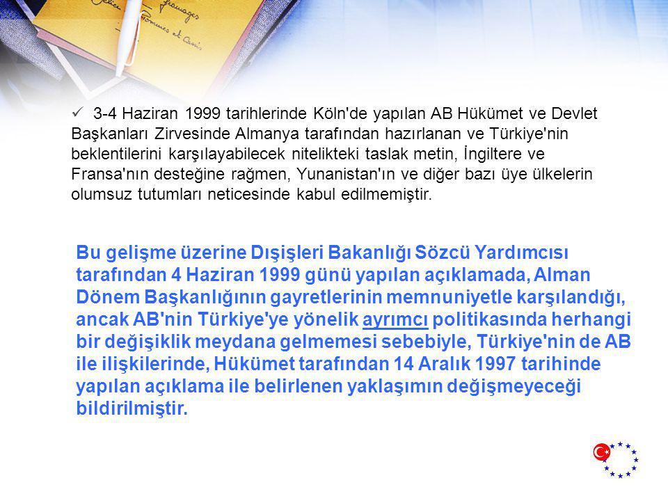 3-4 Haziran 1999 tarihlerinde Köln de yapılan AB Hükümet ve Devlet Başkanları Zirvesinde Almanya tarafından hazırlanan ve Türkiye nin beklentilerini karşılayabilecek nitelikteki taslak metin, İngiltere ve Fransa nın desteğine rağmen, Yunanistan ın ve diğer bazı üye ülkelerin olumsuz tutumları neticesinde kabul edilmemiştir.