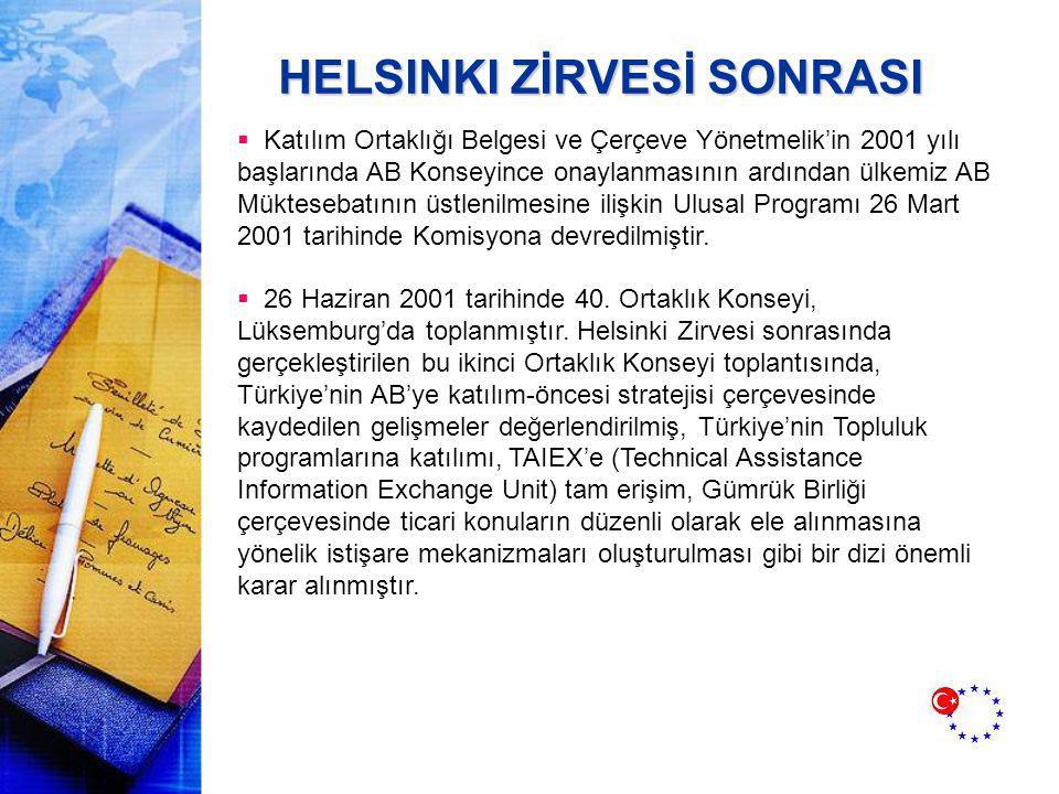 HELSINKI ZİRVESİ SONRASI  Katılım Ortaklığı Belgesi ve Çerçeve Yönetmelik'in 2001 yılı başlarında AB Konseyince onaylanmasının ardından ülkemiz AB Müktesebatının üstlenilmesine ilişkin Ulusal Programı 26 Mart 2001 tarihinde Komisyona devredilmiştir.
