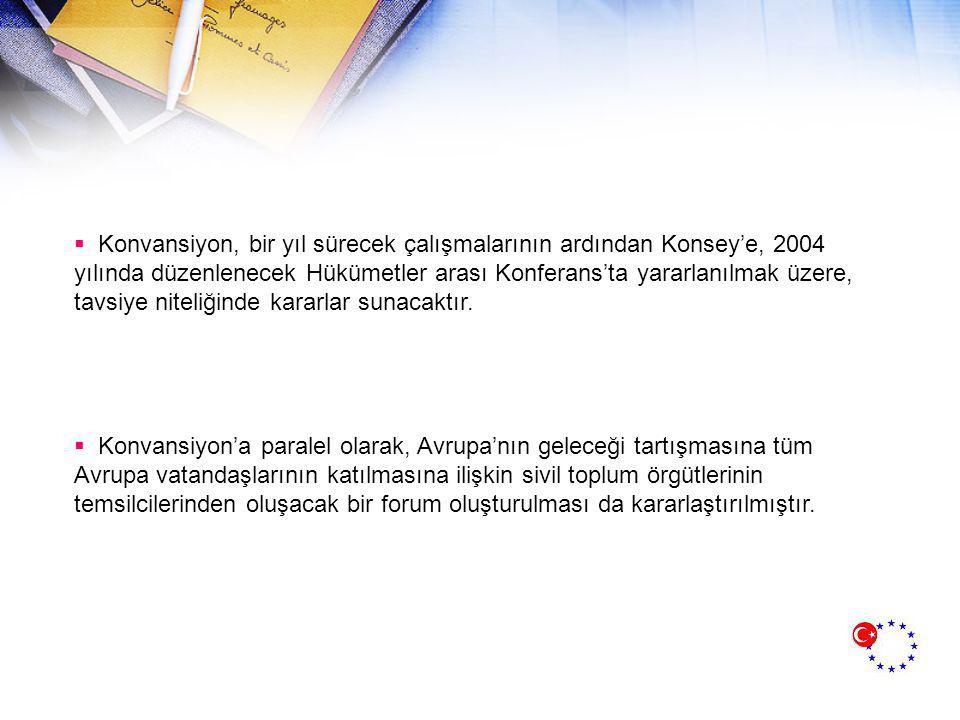  Konvansiyon, bir yıl sürecek çalışmalarının ardından Konsey'e, 2004 yılında düzenlenecek Hükümetler arası Konferans'ta yararlanılmak üzere, tavsiye niteliğinde kararlar sunacaktır.