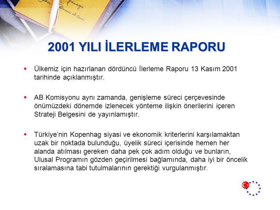 2001 YILI İLERLEME RAPORU  Ülkemiz için hazırlanan dördüncü İlerleme Raporu 13 Kasım 2001 tarihinde açıklanmıştır.