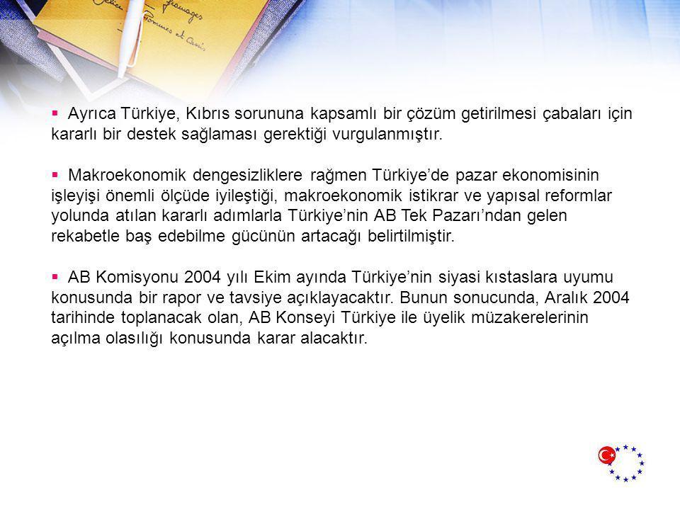 AB KOMİSYONU 2004 RAPORU  Avrupa Birliği (AB) Komisyonu, Türkiye ile ilgili Aralık 2002 Kopenhag zirvesi sonuçları uyarınca hazırladığı İlerleme Raporu ile Tavsiye Belgesi ve Türkiye'nin Birliğe üyeliğinin yaratabileceği etkilere ilişkin Etki Raporu nu 6 Ekim 2004 tarihinde yayınladı.