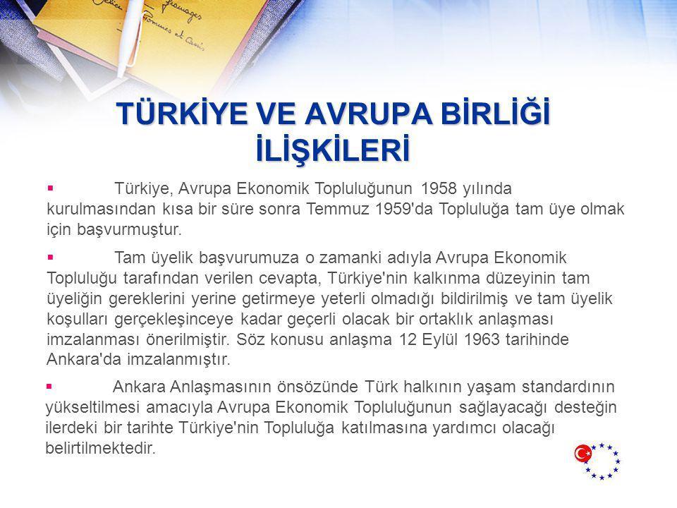 TÜRKİYE VE AVRUPA BİRLİĞİ İLİŞKİLERİ  Türkiye, Avrupa Ekonomik Topluluğunun 1958 yılında kurulmasından kısa bir süre sonra Temmuz 1959 da Topluluğa tam üye olmak için başvurmuştur.