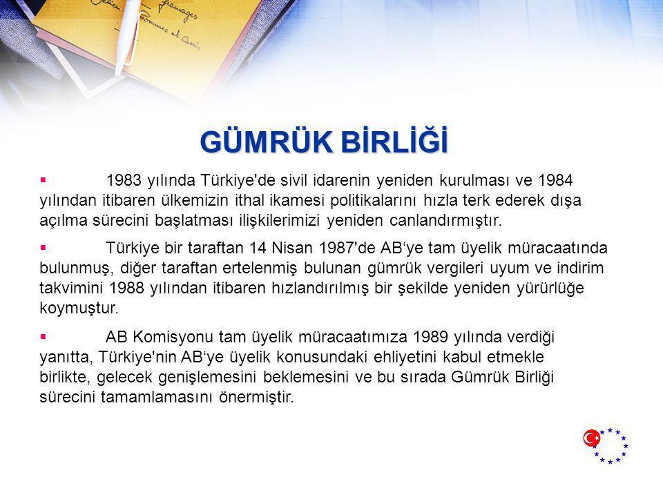 GÜMRÜK BİRLİĞİ  1983 yılında Türkiye de sivil idarenin yeniden kurulması ve 1984 yılından itibaren ülkemizin ithal ikamesi politikalarını hızla terk ederek dışa açılma sürecini başlatması ilişkilerimizi yeniden canlandırmıştır.