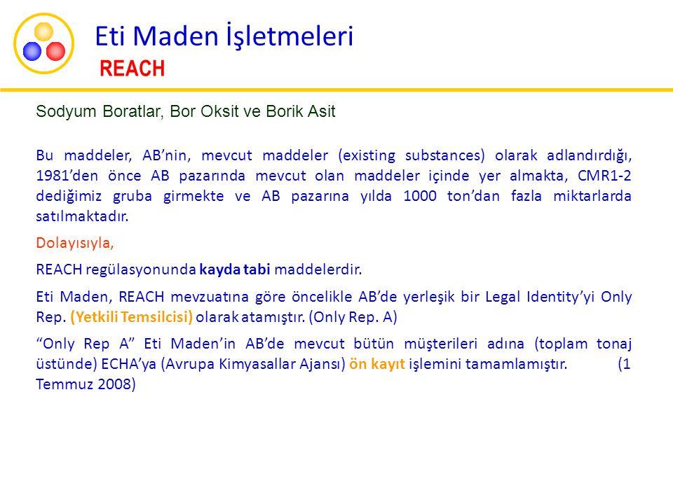 Kimyasal Güvenlik Raporunun (CSR) Hazırlık ve Tamamlanma Çalışmaları  Fizikokimyasal veriler,  insan sağlığı,  çevre testleri,  Maruziyet senaryoları  IUCLID 4 dosyaları  Avusturya Hükümetinin belli bir aşamaya kadar getirdiği Risk Değerlendirme Raporu Sodyum Boratlar, Bor Oksit ve Borik Asit  Kimyasal Güvenlik Raporları  IUCLID dosyaları güncellendi (IUCLID 5 formatı) Eti Maden İşletmeleri REACH