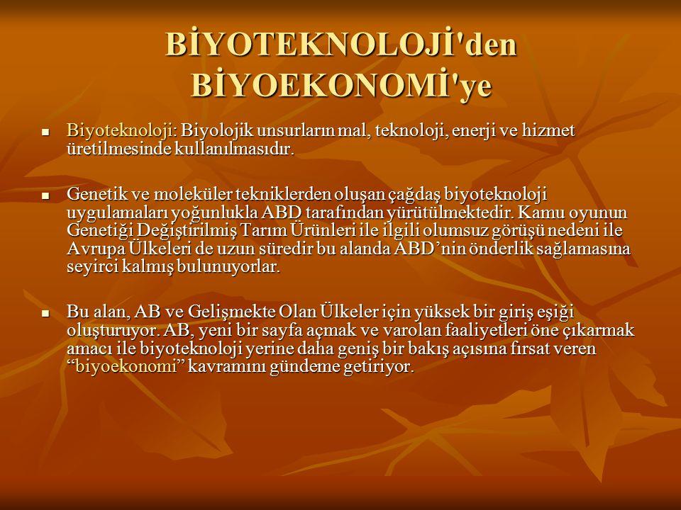 BİYOTEKNOLOJİ'den BİYOEKONOMİ'ye Biyoteknoloji: Biyolojik unsurların mal, teknoloji, enerji ve hizmet üretilmesinde kullanılmasıdır. Biyoteknoloji: Bi