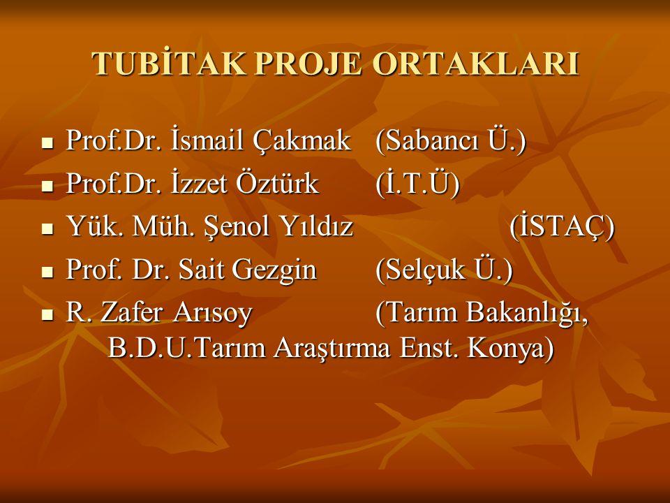 TUBİTAK PROJE ORTAKLARI Prof.Dr. İsmail Çakmak (Sabancı Ü.) Prof.Dr. İsmail Çakmak (Sabancı Ü.) Prof.Dr. İzzet Öztürk (İ.T.Ü) Prof.Dr. İzzet Öztürk (İ