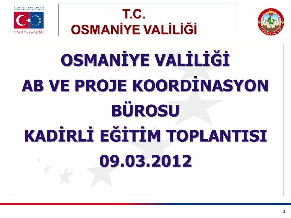 1 T.C. OSMANİYE VALİLİĞİ AB VE PROJE KOORDİNASYON BÜROSU KADİRLİ EĞİTİM TOPLANTISI 09.03.2012