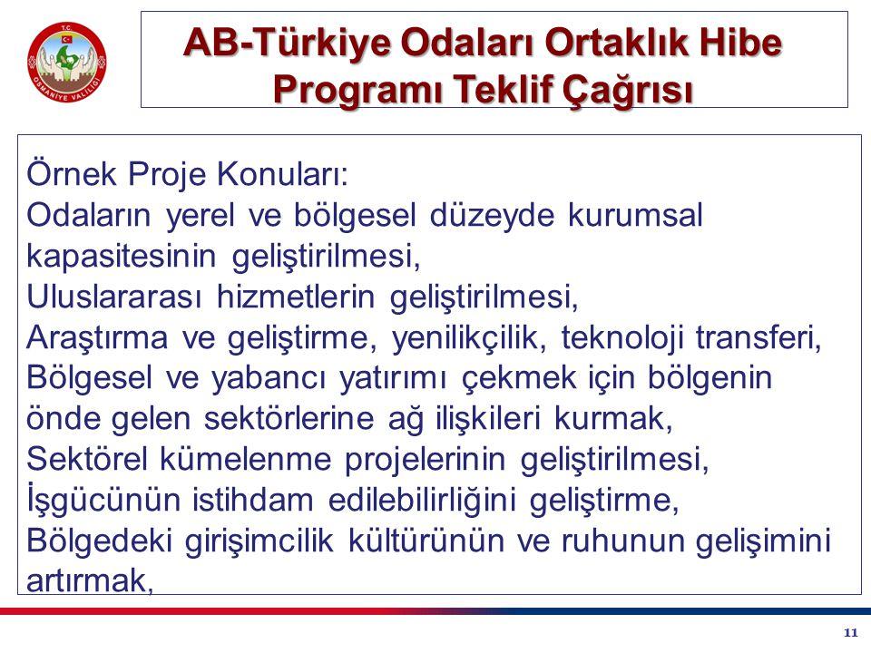 11 AB-Türkiye Odaları Ortaklık Hibe Programı Teklif Çağrısı Örnek Proje Konuları: Odaların yerel ve bölgesel düzeyde kurumsal kapasitesinin geliştirilmesi, Uluslararası hizmetlerin geliştirilmesi, Araştırma ve geliştirme, yenilikçilik, teknoloji transferi, Bölgesel ve yabancı yatırımı çekmek için bölgenin önde gelen sektörlerine ağ ilişkileri kurmak, Sektörel kümelenme projelerinin geliştirilmesi, İşgücünün istihdam edilebilirliğini geliştirme, Bölgedeki girişimcilik kültürünün ve ruhunun gelişimini artırmak,