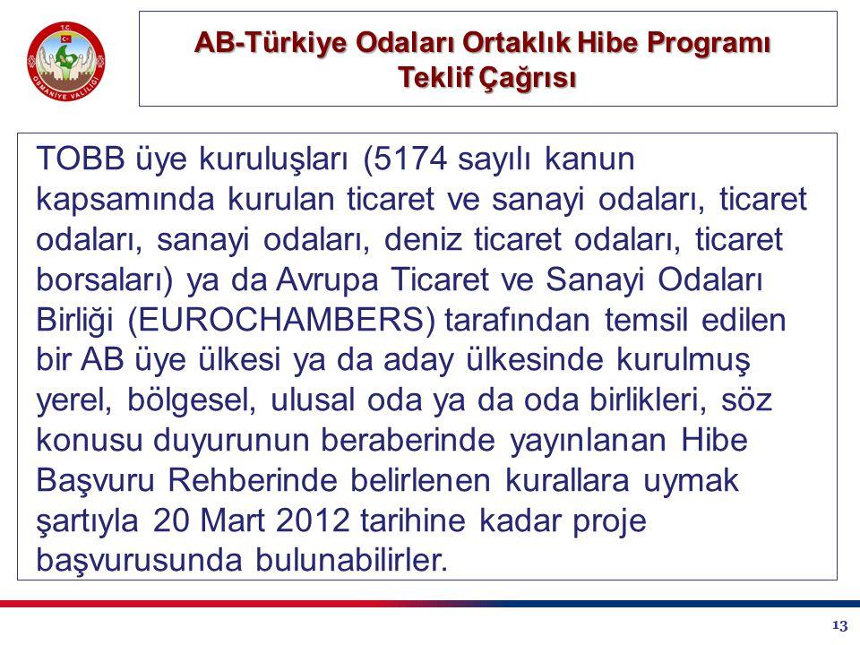 13 AB-Türkiye Odaları Ortaklık Hibe Programı Teklif Çağrısı TOBB üye kuruluşları (5174 sayılı kanun kapsamında kurulan ticaret ve sanayi odaları, ticaret odaları, sanayi odaları, deniz ticaret odaları, ticaret borsaları) ya da Avrupa Ticaret ve Sanayi Odaları Birliği (EUROCHAMBERS) tarafından temsil edilen bir AB üye ülkesi ya da aday ülkesinde kurulmuş yerel, bölgesel, ulusal oda ya da oda birlikleri, söz konusu duyurunun beraberinde yayınlanan Hibe Başvuru Rehberinde belirlenen kurallara uymak şartıyla 20 Mart 2012 tarihine kadar proje başvurusunda bulunabilirler.