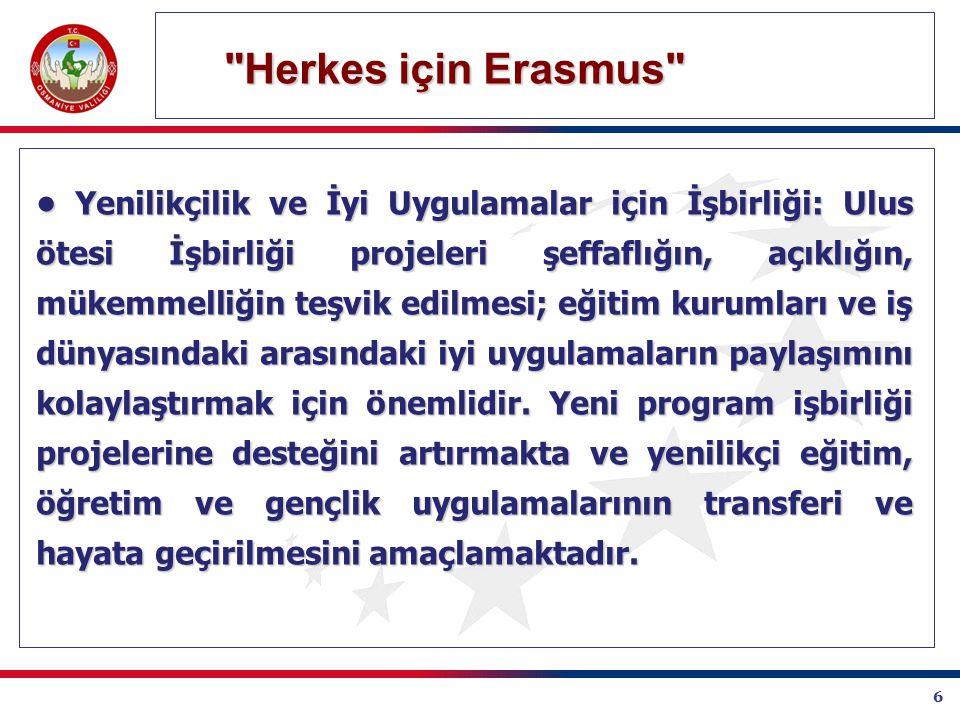 6 Herkes için Erasmus Herkes için Erasmus Yenilikçilik ve İyi Uygulamalar için İşbirliği: Ulus ötesi İşbirliği projeleri şeffaflığın, açıklığın, mükemmelliğin teşvik edilmesi; eğitim kurumları ve iş dünyasındaki arasındaki iyi uygulamaların paylaşımını kolaylaştırmak için önemlidir.