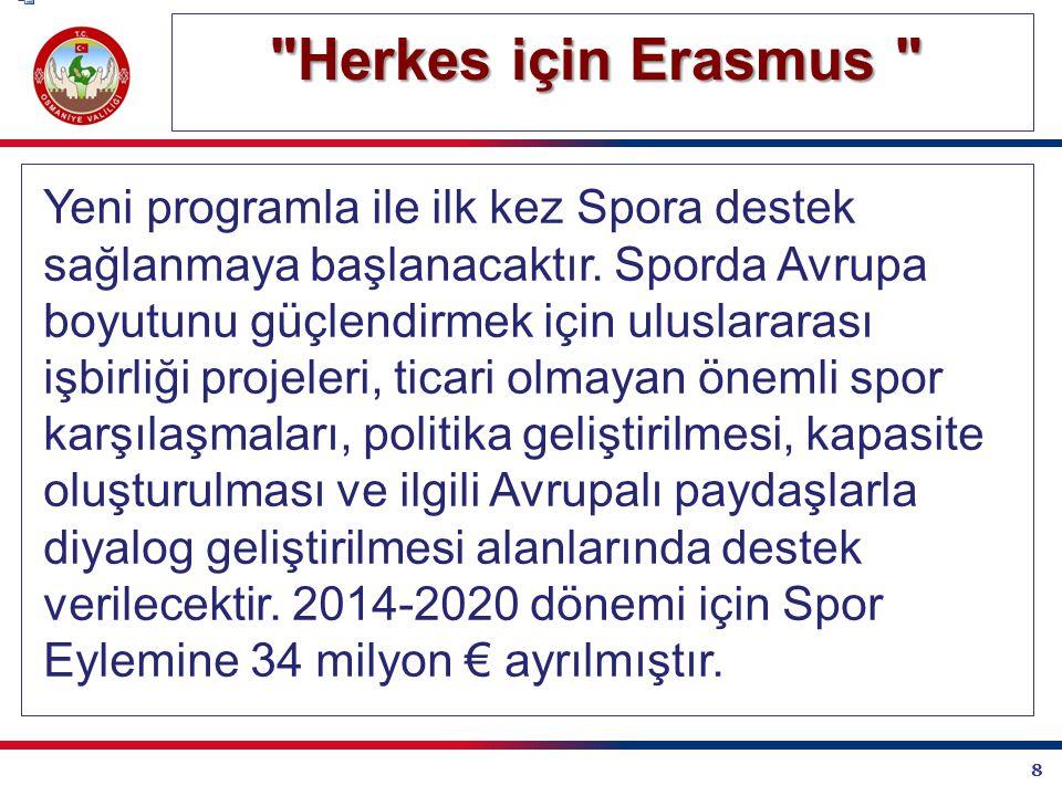 8 Herkes için Erasmus Herkes için Erasmus Yeni programla ile ilk kez Spora destek sağlanmaya başlanacaktır.