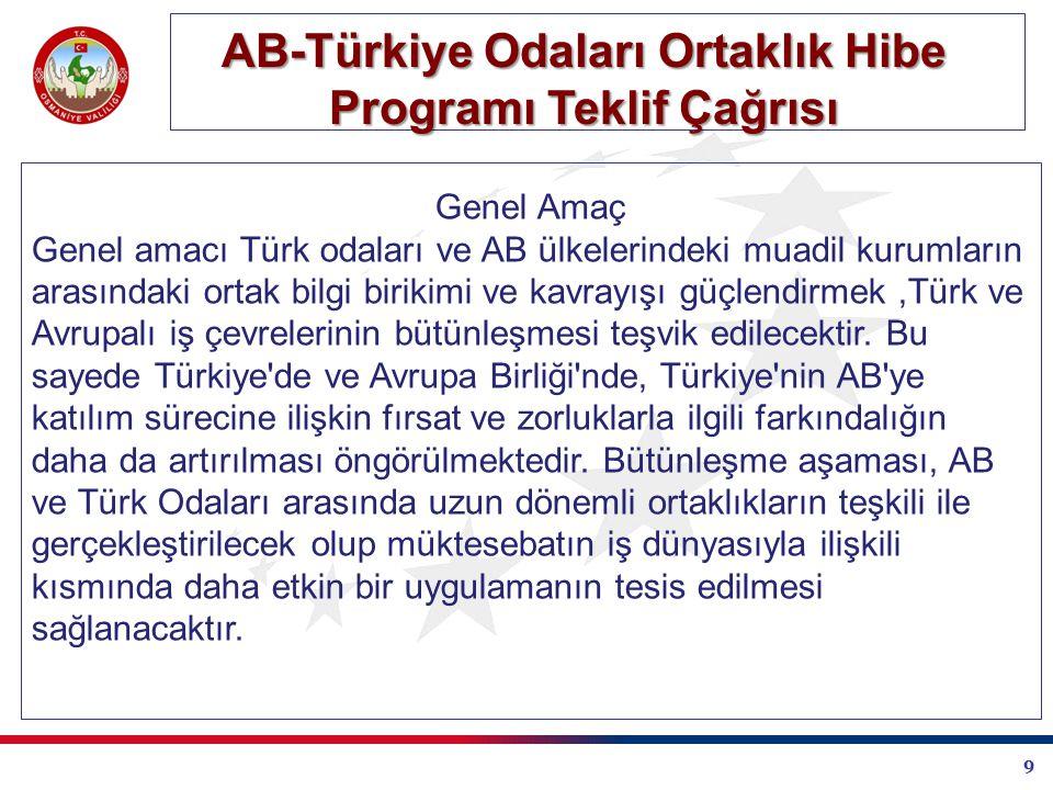 9 AB-Türkiye Odaları Ortaklık Hibe Programı Teklif Çağrısı Genel Amaç Genel amacı Türk odaları ve AB ülkelerindeki muadil kurumların arasındaki ortak bilgi birikimi ve kavrayışı güçlendirmek,Türk ve Avrupalı iş çevrelerinin bütünleşmesi teşvik edilecektir.
