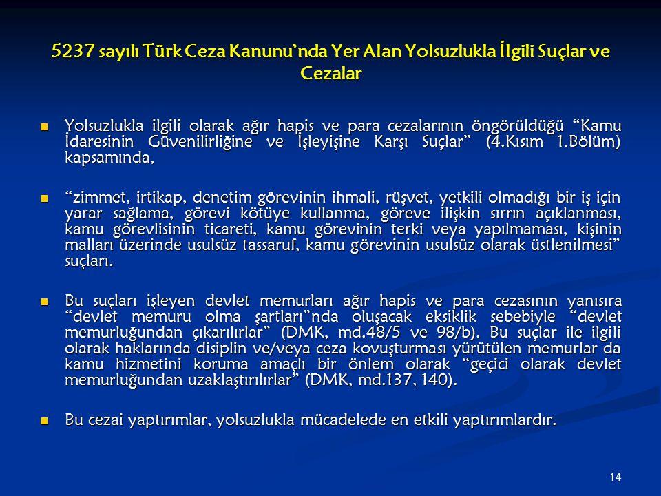 14 5237 sayılı Türk Ceza Kanunu'nda Yer Alan Yolsuzlukla İlgili Suçlar ve Cezalar Yolsuzlukla ilgili olarak ağır hapis ve para cezalarının öngörüldüğü
