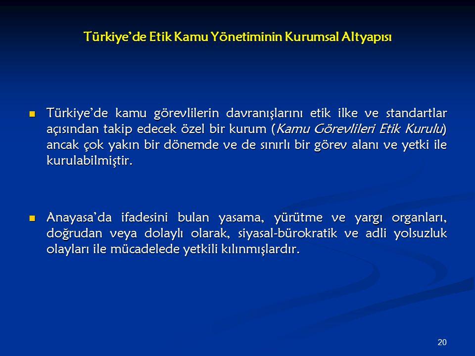 20 Türkiye'de Etik Kamu Yönetiminin Kurumsal Altyapısı Türkiye'de kamu görevlilerin davranışlarını etik ilke ve standartlar açısından takip edecek öze